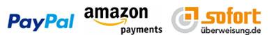 Amazon Payments, Pay Pal und Sofort Überweisung im DIPSE Digitalwaagen Onlineshop.